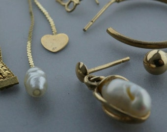 10k 14kt gold earrings. vintage. 8 singles. PartsForYou No.001971 hs