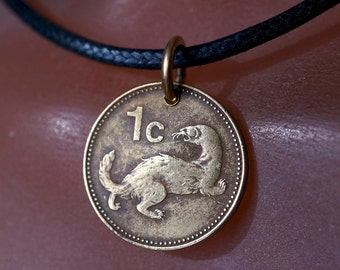 WEASEL NECKLACE.  MALTA Coin jewelry. ferret Charm Pendant. animal coin  No.002066