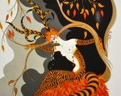 "Classic Art Deco art work by Erte'. 1st edition bookplate print titled ""Autumn"""