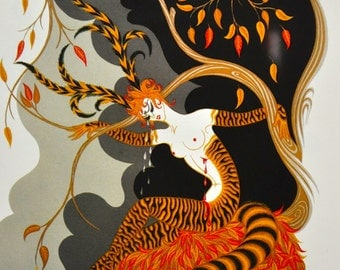 "Classic Art Deco art work by Erte'. 1st edition bookplate print titled ""Autumn"""