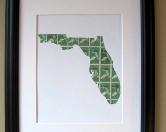 Florida recycled postage stamp map