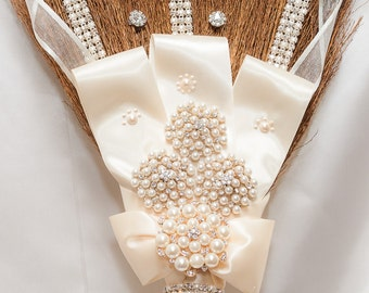 Blinged out Rhinestone Wedding Jumping Broom custom Made This one is in Ivory pearls and Rhinestones