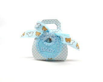 Baby Shower Favor Box, Baby Boy Shower Favor Box with Teddy Bear Ribbon and Baby Blue Bib, Set of 10