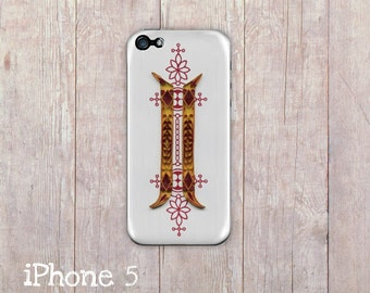 Ornate Folk Yellow & Red iPhone Case, iphone cover, iPhone 4 case, iPhone 4s case, iPhone 5 case, hard case, Paper Quilling, paper art print
