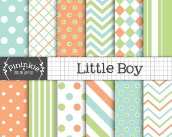Boy Digital Paper, Chevrons, Stripes, Polka Dots, Digital Scrapbook Paper, Card Making, Paper Craft, Printable Paper,Commercial Use,Download