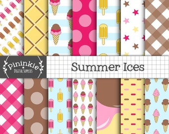 Summer Digital Paper Pack, Ice Cream Scrapbooking Paper Digital, Ice Cream Cone, Lollies, Instant Download, Commercial Use
