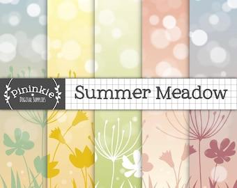 Floral Scrapbook Paper, Summer Digital Paper, Flowers Bokeh Background, Pastel Digital Paper, Instant Download, Commercial Use