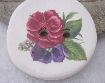 Pink Purple Rhododendron Posy Ceramic Button