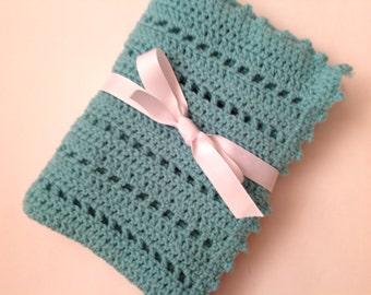 Aqua baby blanket crochet blanket