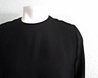 Vintage 60s  Black Sheer Sleeve Mod Mini Dress