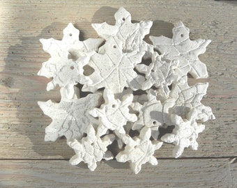 DIY Unfinished Snowflake Salt Dough Ornaments Set of 10