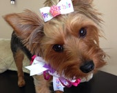 Happy Birthday Dog Neck Fashion, Coordinating Bow, Crown, Hot Pink, Lavender