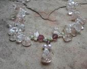 Mothers Day Rose Quartz  Crackled Ice Handmade Necklace