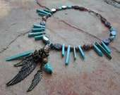 Feather Pendant Brown and Turquoise Handmade Necklace
