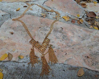 Sara Coventry Vintage Long Necklace with Gold Dangle Pendant.