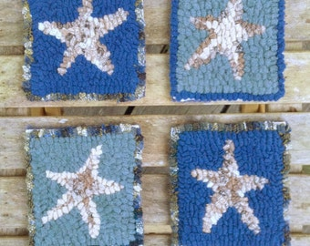 Free Shipping To Usa Handmade Hooked Rug Coaster Set