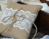 Burlap Wedding Ring Bearer Pillow/Cushion with a strip of white Vintage lace