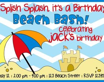 Beach Party Birthday Invitation
