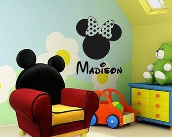 Wall Decal Minnie Mouse Head Personalized Kids Name Disney Kids Room Vinyl Lettering Name