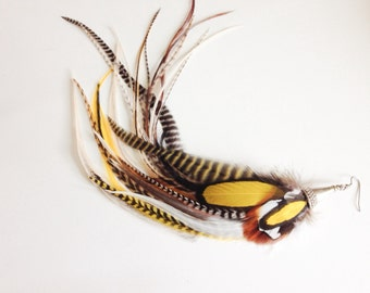 Unique Feather Earring Single, Golden Yellow Natural Feathers Goddess Statement Full Long Feather Jewelry