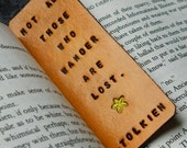 Leather Bookmark - JRR Tolkien - Lord of the Rings Bookmark - The Hobbit - Hand Carved and Tooled - Yellow Flower - LOTR Bookmark - Natural