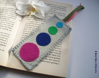 Solar System - Grey Purple Blue Green Large Felt Bookmark ooak