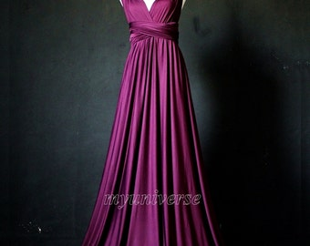 Dark Purple Bridesmaid Dress Wrap Convertible Dress Infinity Dress Maxi Dress Formal Dress Evening Ball Gown Plus Size  Clothing Maternity