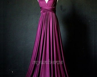 Dark Purple Bridesmaid Dress Wrap Convertible Dress Infinity Dress Maxi Dress Formal Dress