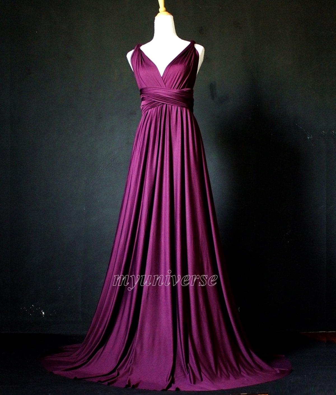Dark purple bridesmaid dress wrap convertible dress infinity for Dark purple wedding dresses