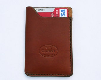 Leather Card Case, minimalist leather wallet, men's wallet, simple wallet,  chestnut brown leather, garny No.10