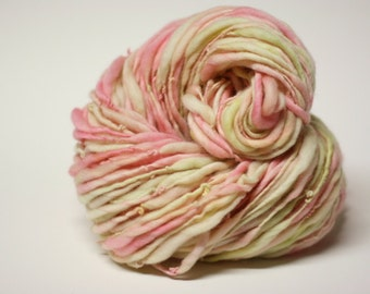 Thick and Thin Yarn Slub tts Merino Handspun Hand dyed Self Striping miniLR 26d