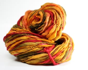 Merino Wool Yarn Thick and Thin Handspun Slub  tts(tm) Hand dyed Self-striping xLR 05b *Reduced 2nd Shipping*