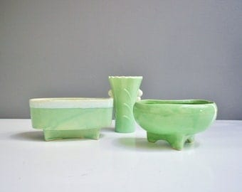 Mint Green Vessel Collection - Pottery Planters and Art Deco Vase