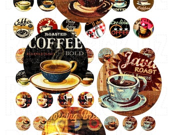 1 inch, 20 mm, 18 mm Circle Delicious Tasty Coffee Digital Sheet. INSTANT DOWNLOAD. 69 Images. Printable Digital Sheet