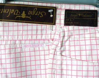 NOS Vintage 80s Sergio Valente Pants Skinny CRoPPeDJeans Flat Front Indie Summer MoD NWT Indie Pink WHite CheckereD Grid Graph Small