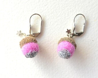Pink earrings with a tiny acorn with silver glitter and tiny star. Woodland earrings.