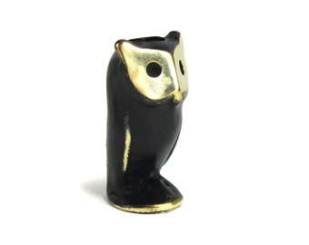 Walter Bosse Owl Candleholder - Vintage Mid Century Original Austrian 1960s Brass Owl Figurine