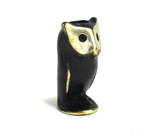 Vintage Walter Bosse ORIGINAL Modernist Austrian 1960s Brass Owl Candle Holder and Figurine