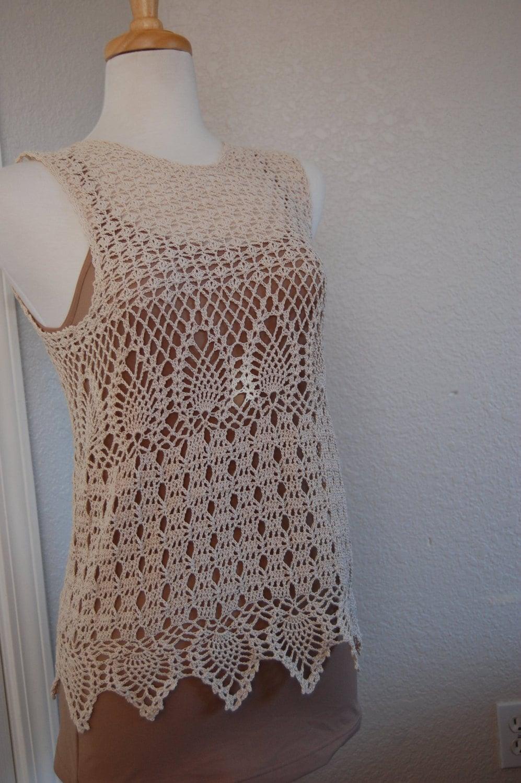 Crochet Tank Top Textured in natural cotton thread size |Thread Crochet Top
