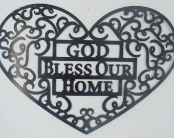 God Bless Our Home Metal art, Wall Decor