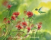 Hummingbird Giclee Print - Red Beebalm Flowers, Large size, red, green, yellow, wildlife, watercolor, nature