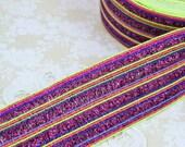 Wide Elastic Sparkly Multi Color Ribbon Trim - Fuchsia and Neon
