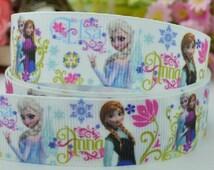 """50 yards 7/8"""" Frozen ribbon - Elsa ribbon - Anna ribbon - Print Ribbon Baby pink, Frozen hair bows ribbon, Frozen Elsa and Anna"""
