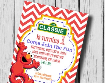 Elmo First Birthday Party Invitation...Printable...DIY...5x7 or 4x6...Print at home...Second Birthday...Colors customizable