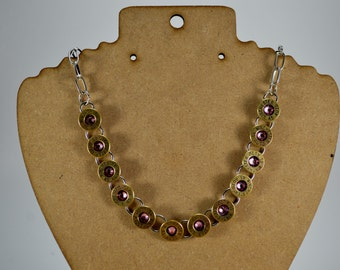 BULLET NECKLACE Tennis Bracelet Style Bullet Shell Casing Winchester 45 Auto Caliber with Lt. Rose Gems