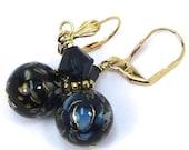 Blue Rose Flower Japanese Tensha and Swarovski Crystal Earrings