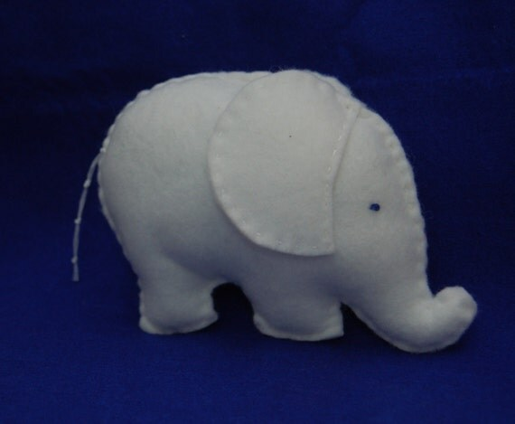 Stuffed Soft Toy Felt Elephant (White)