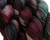 sw wool nylon sock yarn HADES hand dyed fingering weight 3.5oz 460 yards