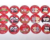 "Valentine's Day Animal Couples Set of 15 Buttons 1 Inch Pin Back Buttons 1"" Pins Valentine"