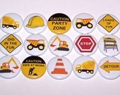 "Construction Party Dump Trucks Set of 15 Buttons 1"" or 1.5"" or 2.25"" Pins or 1"" Magnets Yellow Vehicles"